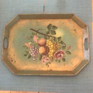 Vintage Toleware Hand-painted Large Metal Tray